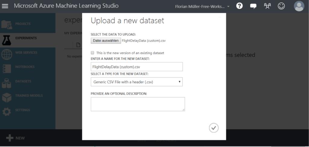 Uploading a new dataset