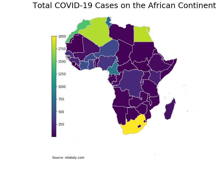 Geographic heat map of Africa showing COVID-19 total cases in different countries