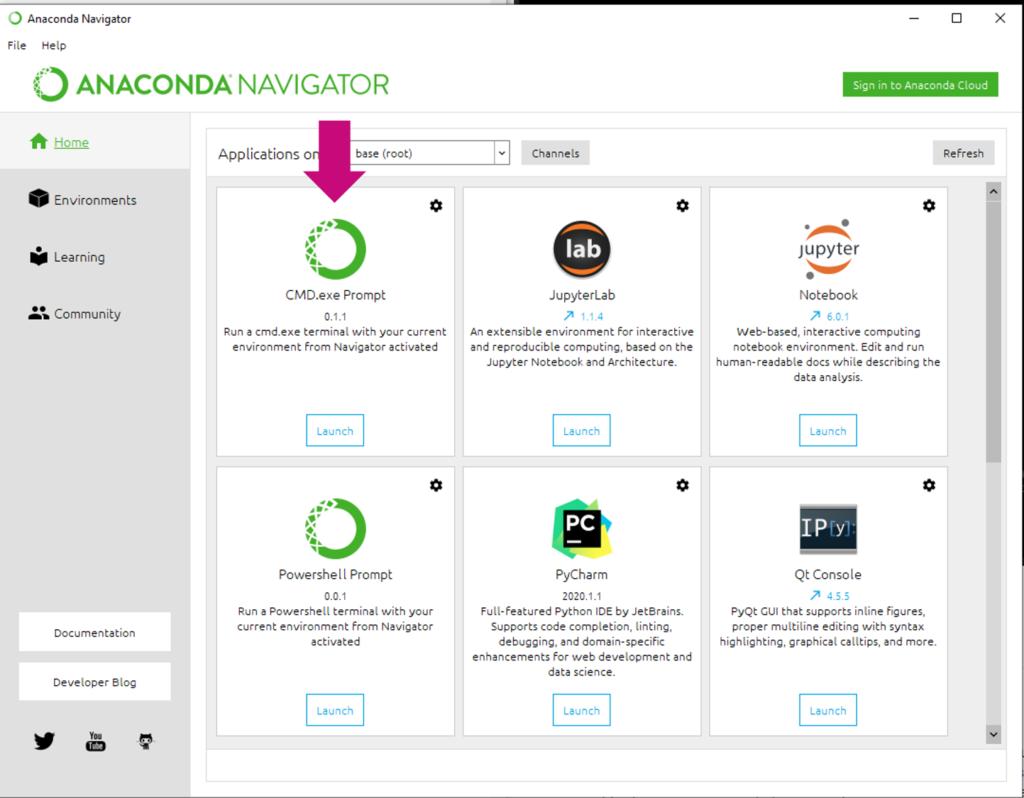 Anaconda Welcome Screen