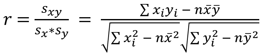 The standard Formula for the Pearson Correlation Coefficient